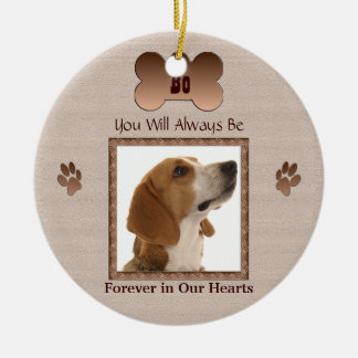 In Memory of Your Pet Dog or Cat - Beige Round Ceramic Decoration
