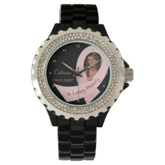 In Memory Pink Ribbon Photo Template Watch