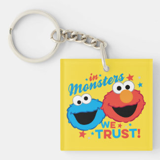 In Monsters We Trust! Double-Sided Square Acrylic Key Ring