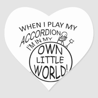 In My Own Little World Accordion Heart Sticker