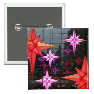 In New York City. Christmas decoration inside 15 Cm Square Badge