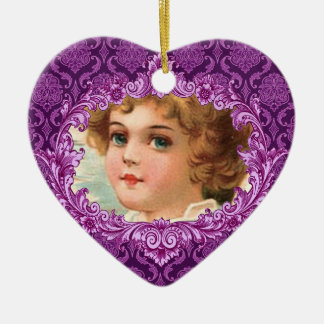 In Our Hearts Memorial Tribute Purple Curlicue Ceramic Ornament