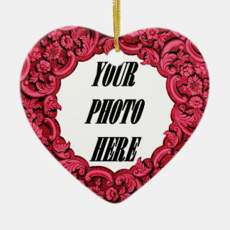 In Our Hearts PHOTO Memorial Tribute Red A06 Ceramic Ornament
