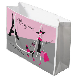 In Paris Woman and Dog Pink and Black Large Gift Bag