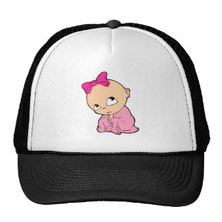in pink with bow cap