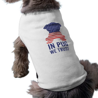 In Pug We Trust American Flag Pug Silhouette Sleeveless Dog Shirt