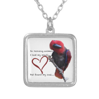 In rescue, I lost my mind, but found my soul. Square Pendant Necklace