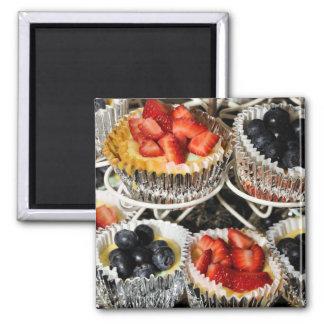 In Season Fruit Tarts Square Magnet