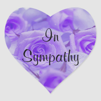 In Sympathy Lavender Roses Heart Sticker