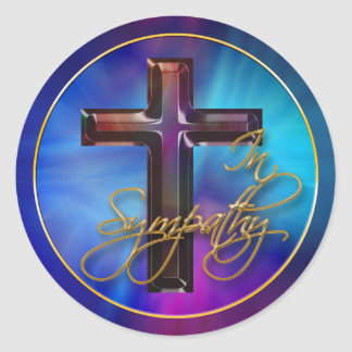 In Sympathy Mother of Pearl Cross Seal Stickers