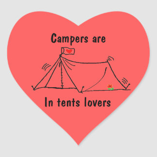In Tents Lovers Camping Pun Heart Sticker