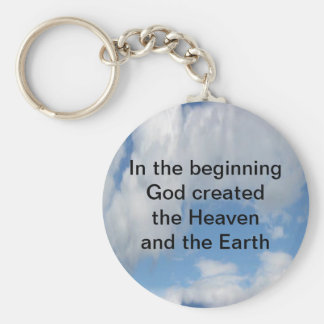 In The Beginning God Created .... Cloud Basic Round Button Key Ring