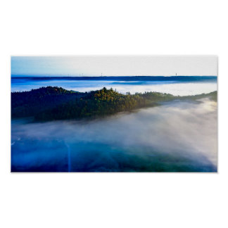 In the blue | poster print aerial photograph