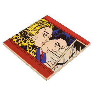 In the Car - Lichtenstein - Vintage Pop Art Wood Coaster