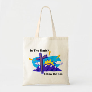 In the dark, Follow the son religious gift item Budget Tote Bag