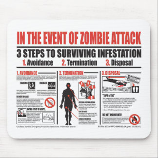In The Event of Zombie Attack MOUSE PAD