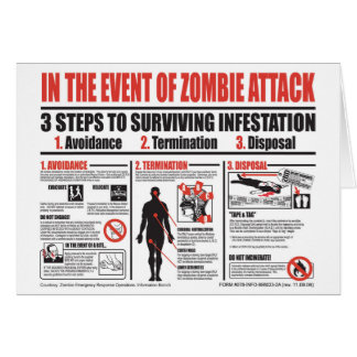 In The Event of Zombie Attack NOTE CARD