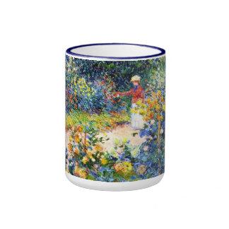 In the Garden Claude Monet woman painting Ringer Mug