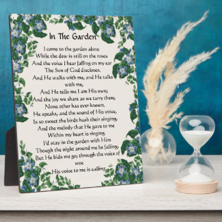In The Garden Hymn Flowers Floral Plaque
