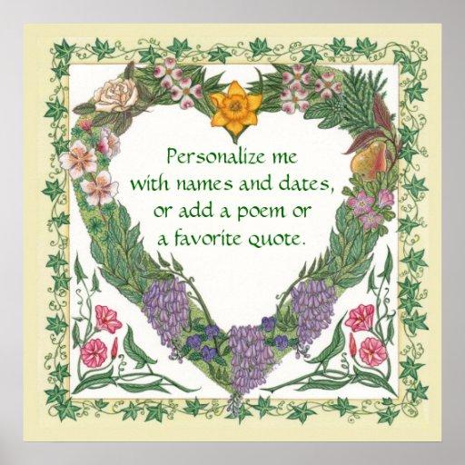 In the Garden ~ Love Wreath Poster