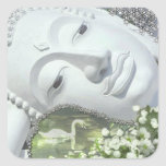 In the Garden - Quan Yin & Flowers Square Stickers