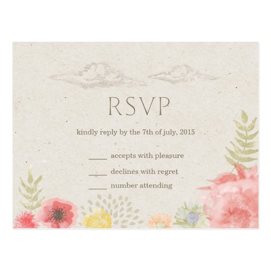 In the Meadow Summer Wedding RSVP Postcard