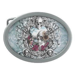 In the mirror landscape skull. belt buckle