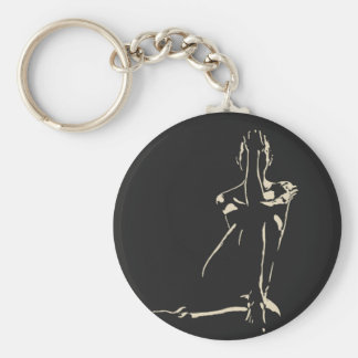 In the night she hides, sexy girl stencil art basic round button key ring