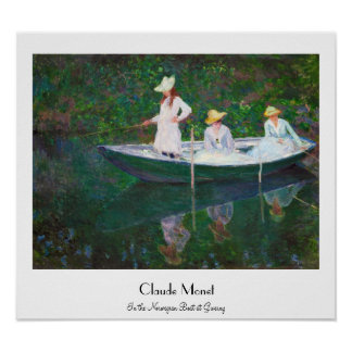 In the Norwegian Boat at Giverny Claude Monet Poster