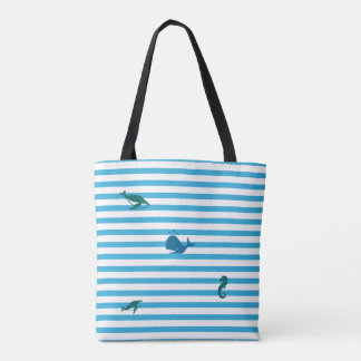 In the Ocean, Beach Stripes Tote Bag