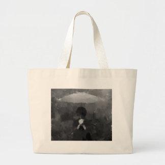 In the Rain Dark Art Painting Large Tote Bag