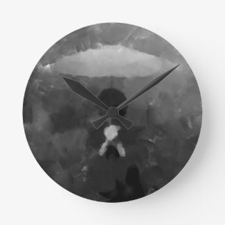 In the Rain Dark Art Painting Round Clock