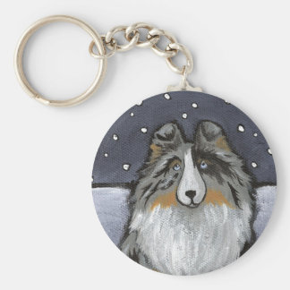 """In The Snow Again"" Blue Merle Sheltie Key Ring"