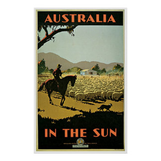 In The Sun ~ Australia  Vintage Travel Poster