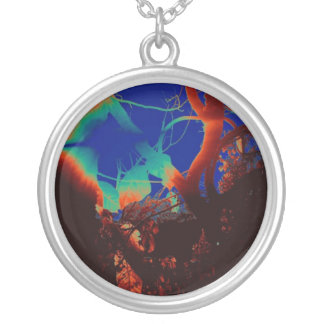 In the trees round pendant necklace