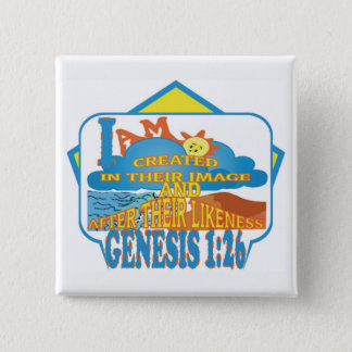 IN THEIR IMAGE© ButtonENG 15 Cm Square Badge