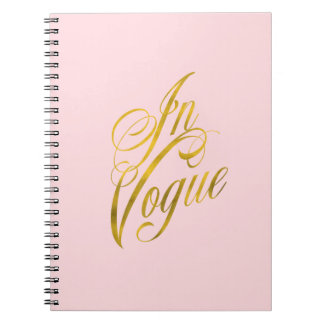 In Vogue Quote Faux Gold Foil Metallic Fashion Spiral Notebook