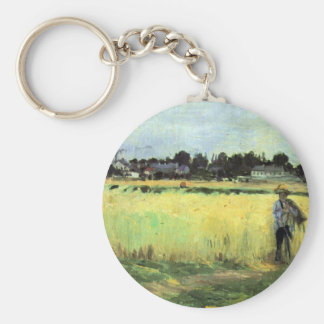 In wheat field by Berthe Morisot Keychains