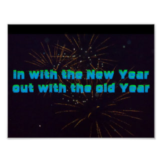 In  with New Year poster