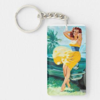 In Yellow Dress Pin Up Key Ring