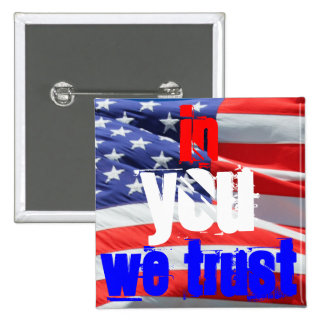 In You We Trust, USA America American Flag Colors 15 Cm Square Badge