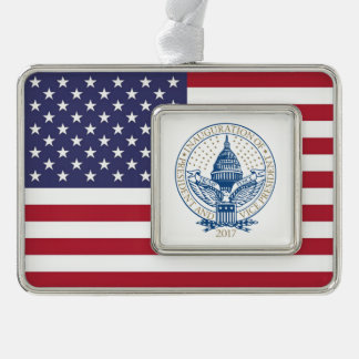 Inauguration Donald Trump Mike Pence 2017 Logo USA Silver Plated Framed Ornament