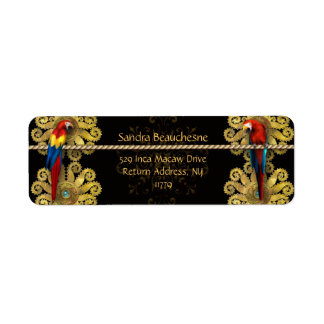 Inca Macaws - Black Gold Return Address Label