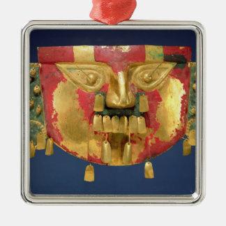 Inca mask Silver-Colored square decoration