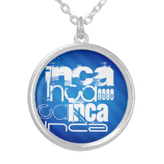 Inca; Royal Blue Stripes Personalized Necklace