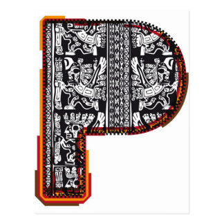 Inca`s font, Letter P Postcard