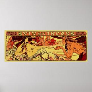 Inca wine Alphonse Mucha remake horizontal Poster
