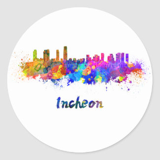 Incheon skyline in watercolor classic round sticker