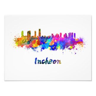 Incheon skyline in watercolor photo print