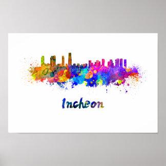 Incheon skyline in watercolor poster